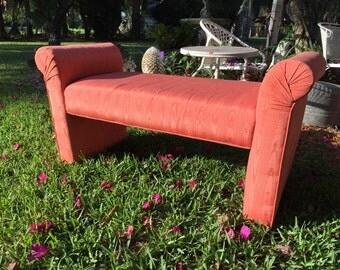 MODERN ORANGE BENCH Coral Salmon Color PoP Upholstered Bench Chair Settee with Tufted Rolled Arms Mid Century Modern Stool at Modern Logic