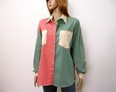 Vintage 1990s Shirt Rose Green Tan Color Block Shirt / Large