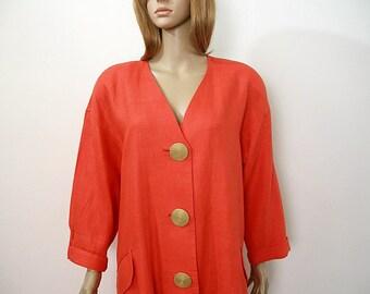 Vintage 1980s Coat Dress Orange Red Linen Flared Tent Dress  /  Large