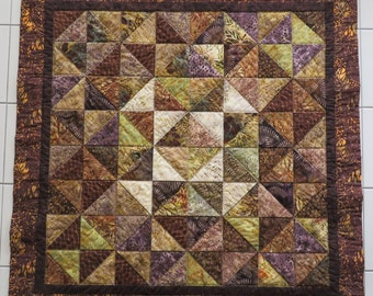 Brown Batik Handcrafted Quilted Wall Hanging Table Topper Center Piece