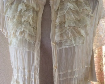 Duster jacket with vintage lace from france 596