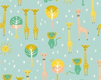 1 Yard Organic Cotton KNIT Fabric - Happy Town Knits - Happy Pals Sky