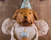 Golden Retriever Birthday Angel, OOAK, hand-sculpted from papier mache, GOLDEN RETRIEVER