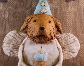 Golden Retriever Birthday Angel, OOAK, hand-sculpted from papier mache, GOLDEN RETRIEVER