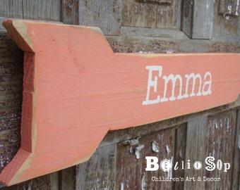 Personalized Pink Name Arrow Nursery Decor