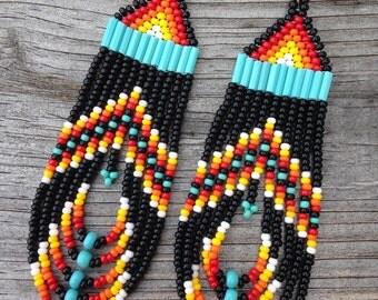 Native American  Black, Multi Colored Beaded Earrings