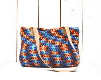 25% OFF Crochet Beach Bag Crochet Handbag Purse Boho Purse Crochet Tote Market Bag Cotton Leather