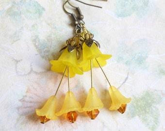 Lemon Yellow Spring Summer Earrings,Wedding Bridal Earrings,Long Earrings