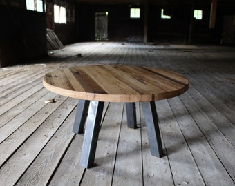 "30"" round reclaimed pier wood and steel coffee table"