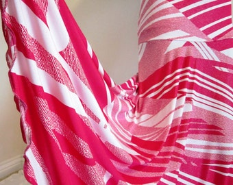 """Ladies Pink and White Abstract Print Stretch Knit Jersey Maxi Skirt for Missionary, Travel or Leisure, 40"""" long, S/M"""