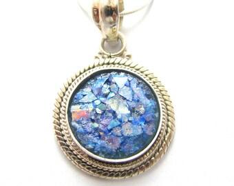 925 Silver Roman Glass Filigree Pendant Necklace