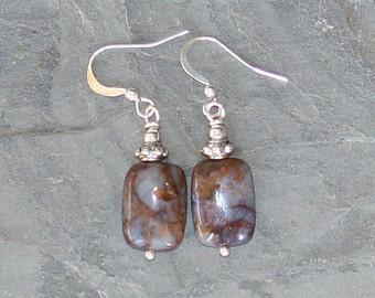 Jasper Earrings, Natural Stone Earrings, Gray Earrings, Brown Earrings, Neutral Earrings, Handmade Earrings, Fall Earrings, Natural Jewelry