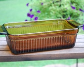 Vintage Anchor Hocking Fire King One-Quart Amber Autumn Harvest Bread Pan, Excellent Condition