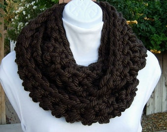 INFINITY SCARF Loop Cowl, Dark Espresso Solid Brown, Soft Extra Bulky Thick Chunky Acrylic Crochet Knit Winter Endless Circle, Ready to Ship