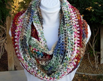 CRAZY INFINITY SCARF, Many Colors, Large Oversized Cowl, Wide Long Colorful Ooak Big Crochet Knit Winter Circle Soft Acrylic..Ready to Ship