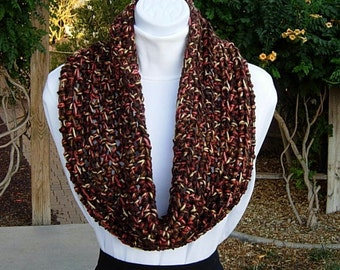 READY To SHIP Large Crochet Cowl, Small Infinity Scarf, Short Wide Cowl, OOAK, Dark Brown Orange Gold Yellow, Soft Thick Acrylic, Winter