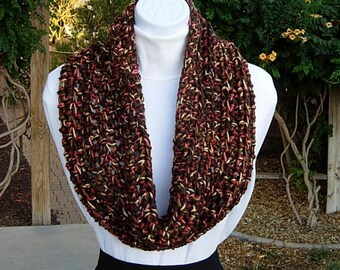 Large Crochet Cowl, Small Infinity Scarf, Short Wide Cowl, OOAK, Dark Brown Orange Gold Yellow, Soft Thick Acrylic, Winter..Ready to Ship