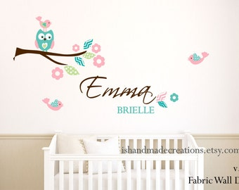 Fabric Owl Wall decal  Personalized Fabric re usable and removable wall sticker