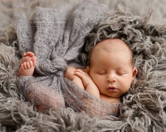 Light Gray Sunflower Mohair Knit Baby Wrap Newborn Photography