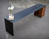 Reclaimed Oak Wood and Floating Steel Bench
