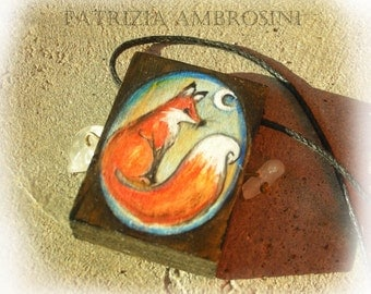 PENDANT red fox painted wood handpainted  miniature painted rock
