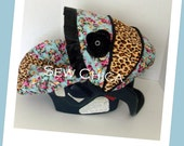 Shabby Chica Leopard Roses/Leopard minky Infant Baby Car Seat Cover with Bling Flower-Ready To Ship