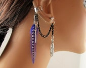 Earcuff Purple Feather Black Chain Non Pierced and Earring