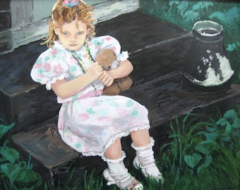 "Art Print of my original acrylic painting- ""Taking A Break""- Little Girl Portrait - 8x10 - hand-signed -  by artist Patty Fleckenstein"