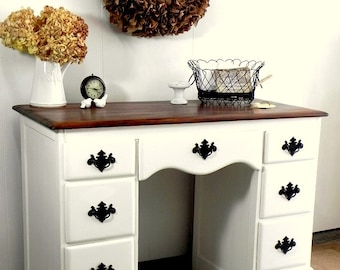 Country Furniture Home Office Computer Desk or Dressing Table Vanity - painted vintage furniture white with dark natural top