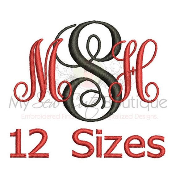 embroidery font interlocking vine monogram 12 sizes bx