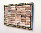 Wine Cork Board with a yellow wisteria seed border