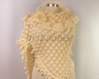 Cream Shawl Wrap, Bridal Shrug Bolero, Wedding Wrap, Crochet Shawl, Wedding Shawl, Bridal Lace Shawl, Mohair Ruffle Shawl, Wedding Cover Up