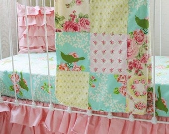 Turquoise Mockingbird Pink 3-Piece Bumperless Baby Bedding Set in Turquoise Yellow and Pink for Custom Baby Girl Nursery