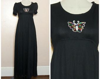 60s 70s Black Butterfly Maxi Dress XS Small Sequins Long Dress Tie Waist