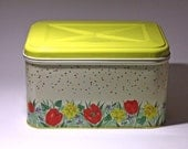 Vintage Tulip and Daffodil Yellow Bread Box - SALE - circa 1950's