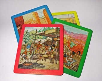 Vintage Native Jigsaw Puzzle, Children's Indian Puzzles - circa 1940's
