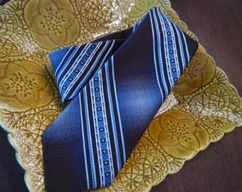 Vintage Blue and Brown Ram Tiemakers Skinny Necktie