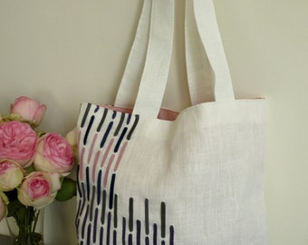 Totebag white linen with 4 colors leather