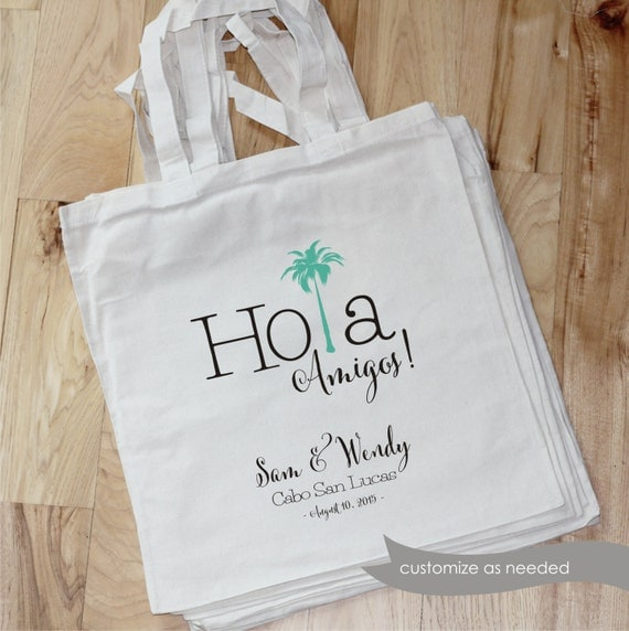Wedding Gift Bag Ideas Mexico : Wedding Bag - Hola Amigos -14x15 cotton tote - thank you bag - gift ...