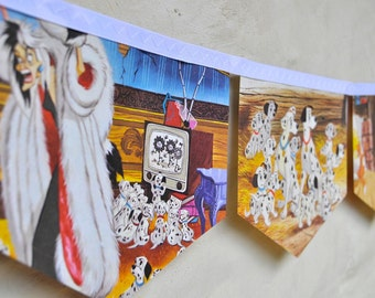 101 DALMATIONS Banner Disney Vintage Little Golden Book Bunting Children Paper Party Decoration nursery story book eco friendly re-purposed