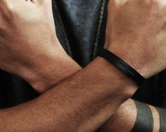 Black Personalized Cuff Carpe Diem Stamped Bracelet Mens Jewelry