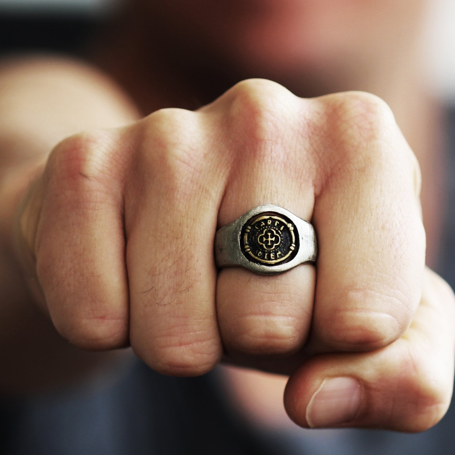 silver gold ring signet coin rings for men personalised. Black Bedroom Furniture Sets. Home Design Ideas