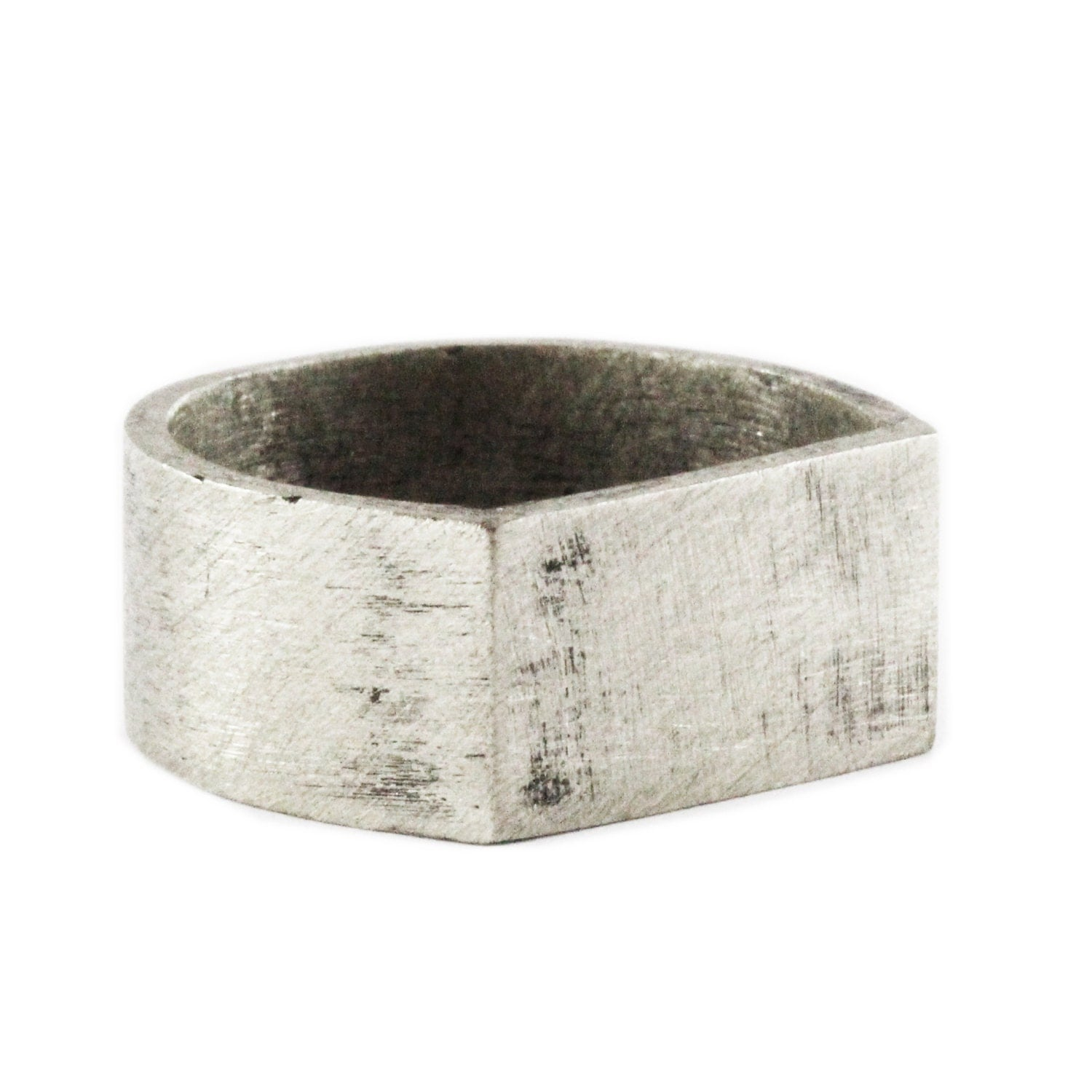 mens wedding band brushed silver personalized ring
