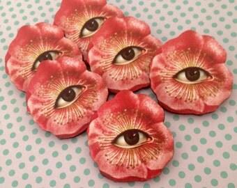SALE Eye Flower large Wooden Pin