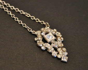 Vintage sterling silver and paste necklace. Crystal necklace.