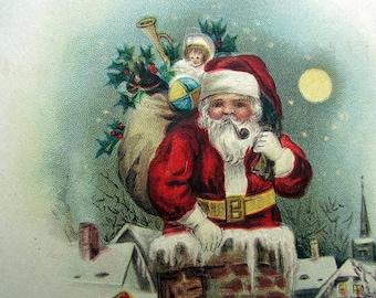 Antique 3-1/2 X 5-1/2 Post Card Santa Claus / Kris Kringle / Christmas