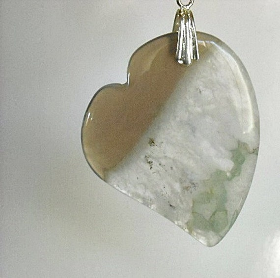 Heart Necklace - Mint Green Gemstone Heart Necklace - Heart Jewelry - Agate Heart Pendant - Valentine - Sterling Silver - Chalcedony