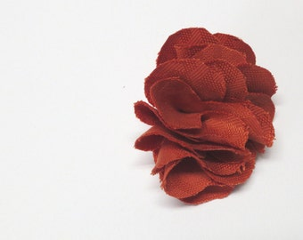 Brooch accessory made of fabric handmade fabric brooch in orange color