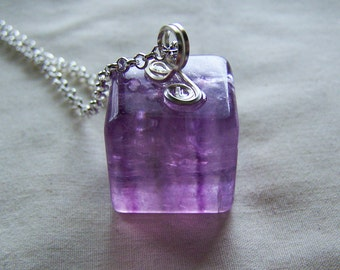 Purple Banded Fluorite Polished Cube Pendant