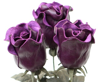 3 purple leather rose bud bouquet third Anniversary wedding gift Long Stem leather Flower Valentine's 3rd Leather Anniversary Mother's Day